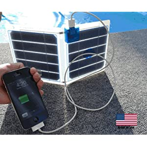 The sCharger-5 is a Powerful Compact Solar Charger that can Both Charge and Actually Run At The Same Time, iPod, iPhone(3, 4, & 4S), Droid, HTC, Samsung, and Many Other Portable Devices Directly from the Sun