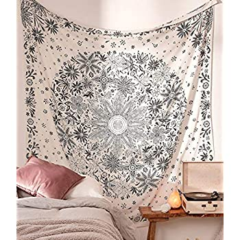Neasow Bohemian Tapestry Wall Hanging, Beige White Floral Tapestry with Dotted Daisy Medallion Print Bedroom Boho Hippie Home Decor, 60×60 inches