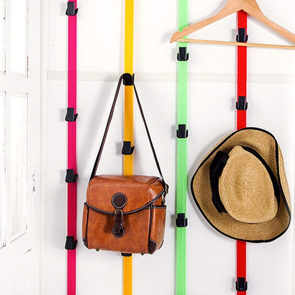 RoadRoma Adjustable Over Door Straps Hanger Hat Bag Coat Clothes Rack Organizer Hook Pink