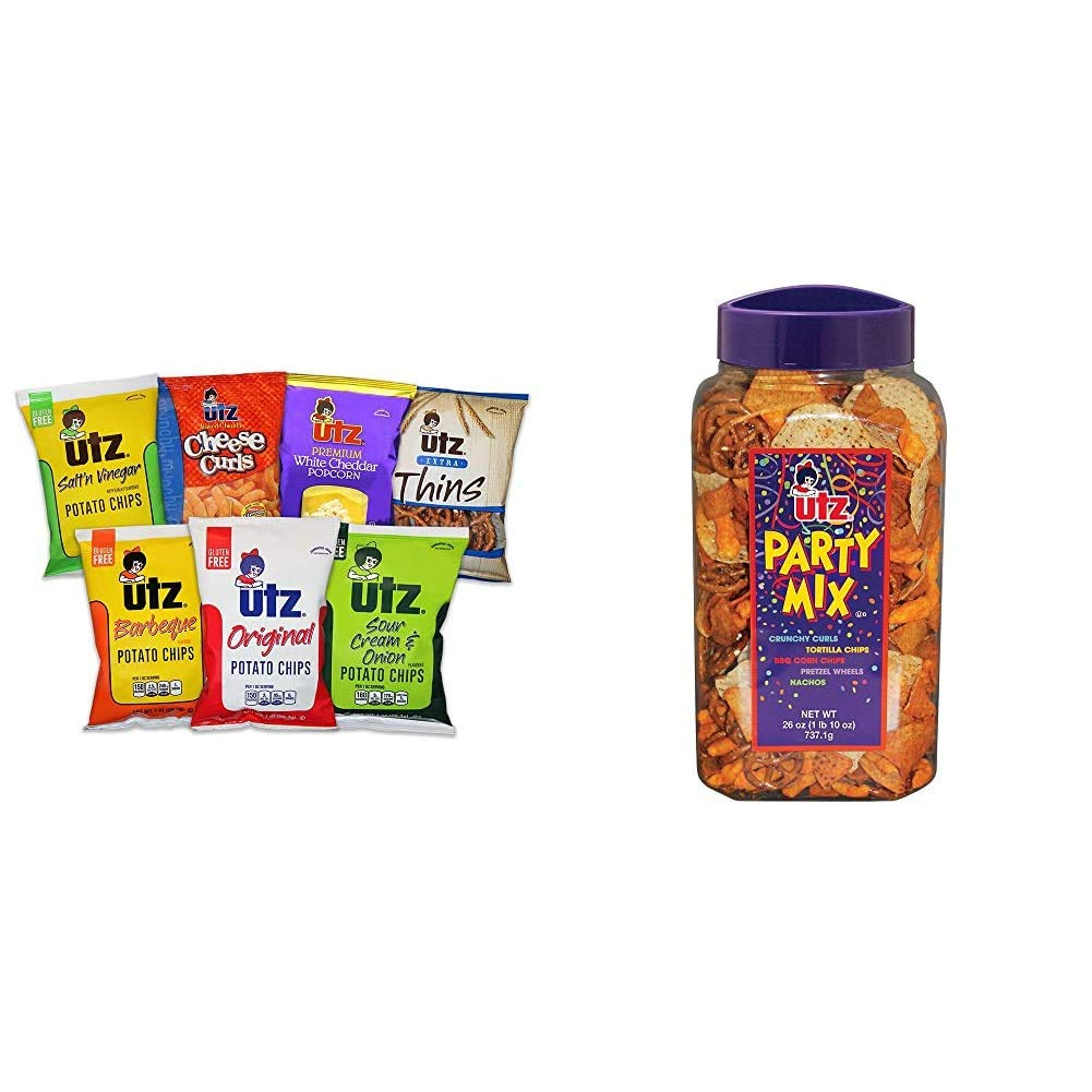 Utz Jumbo Snack Variety Pack (Pack of 60) Individual Snack Bags, Includes Potato Chips, Cheese Curls & Party Mix - 26 Ounce Barrel - Tasty Snack Mix Includes Corn Tortillas, Nacho Tortillas, Pretzels