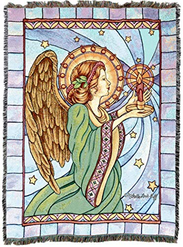 (Pure Country Weavers | Stain Glass Guardian Angel Woven Tapestry Throw Blanket with Fringe Cotton USA 72x54)