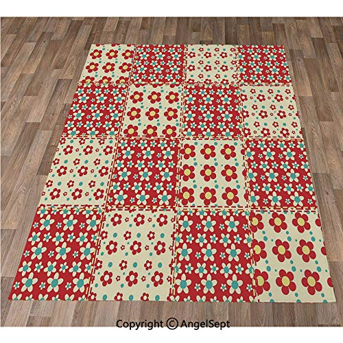 Non-Slip Super Soft Rugs Cozy Kids Bedroom Living Room Carpet 24x36in,Traditional Quilt Pattern with Spring Garden Flowers Daisies Decorative,Light Yellow Turquoise Red Indoor/Outdoor Area Runners & ()