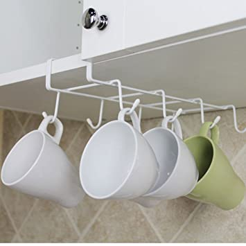 SUNLIGHTAM Under Shelf Cabinet Cup Mug Glass Bottle Cupboard Holder Rack  Hanger Organizer Hanging Stainless Steel