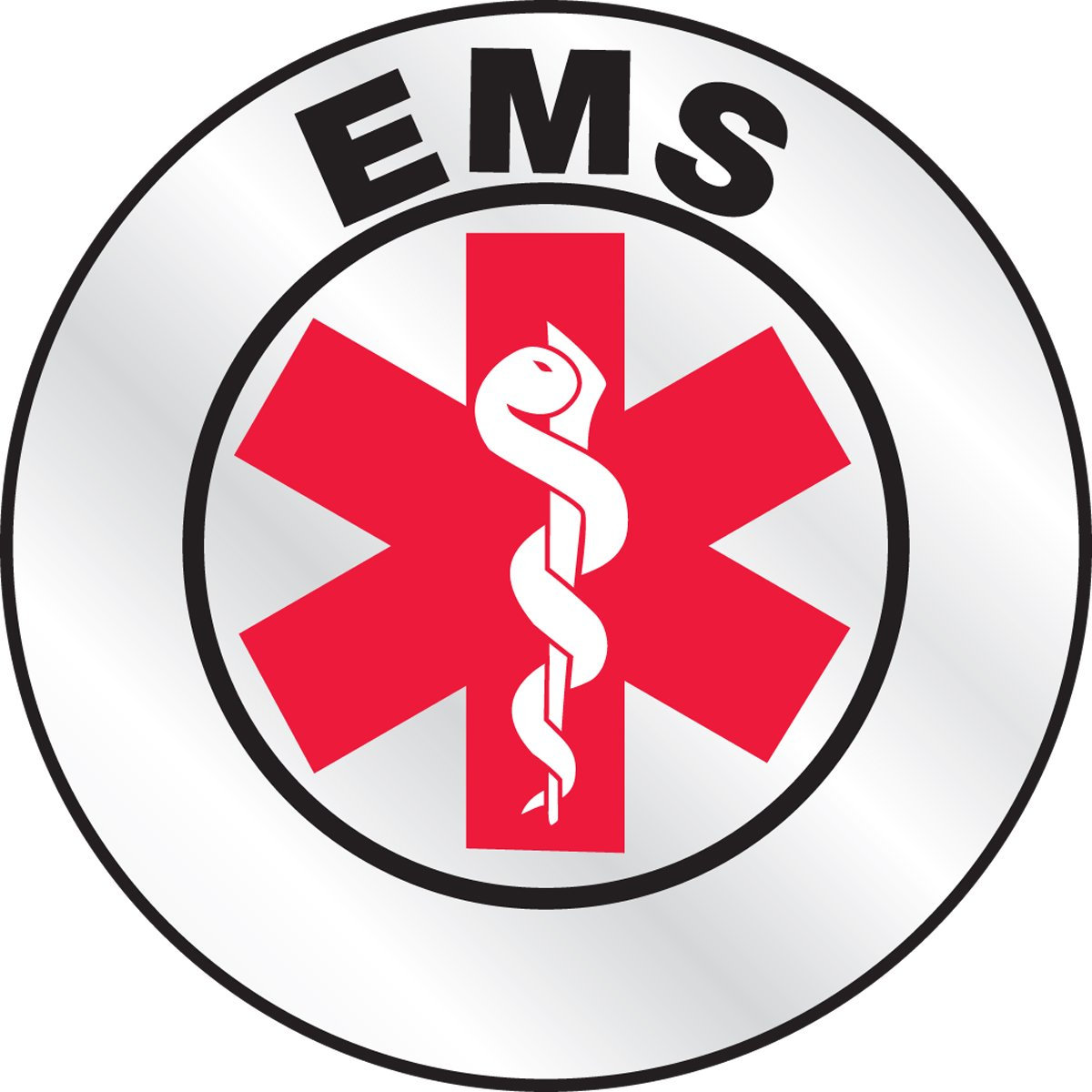 LegendEMS with Graphic Accuform Signs LHTL616 Emergency Response Reflective Helmet Sticker 2-1//4 Diameter Red//Black on White LegendEMS with Graphic 2-1//4 Diameter