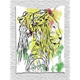 Rasta Tapestry by Ambesonne, Black and White Sketchy Head of Lion on Digital Pixels Backdrop Image, Wall Hanging for Bedroom Living Room Dorm, 40 W X 60 L Inches, Green Burgundy and Yellow