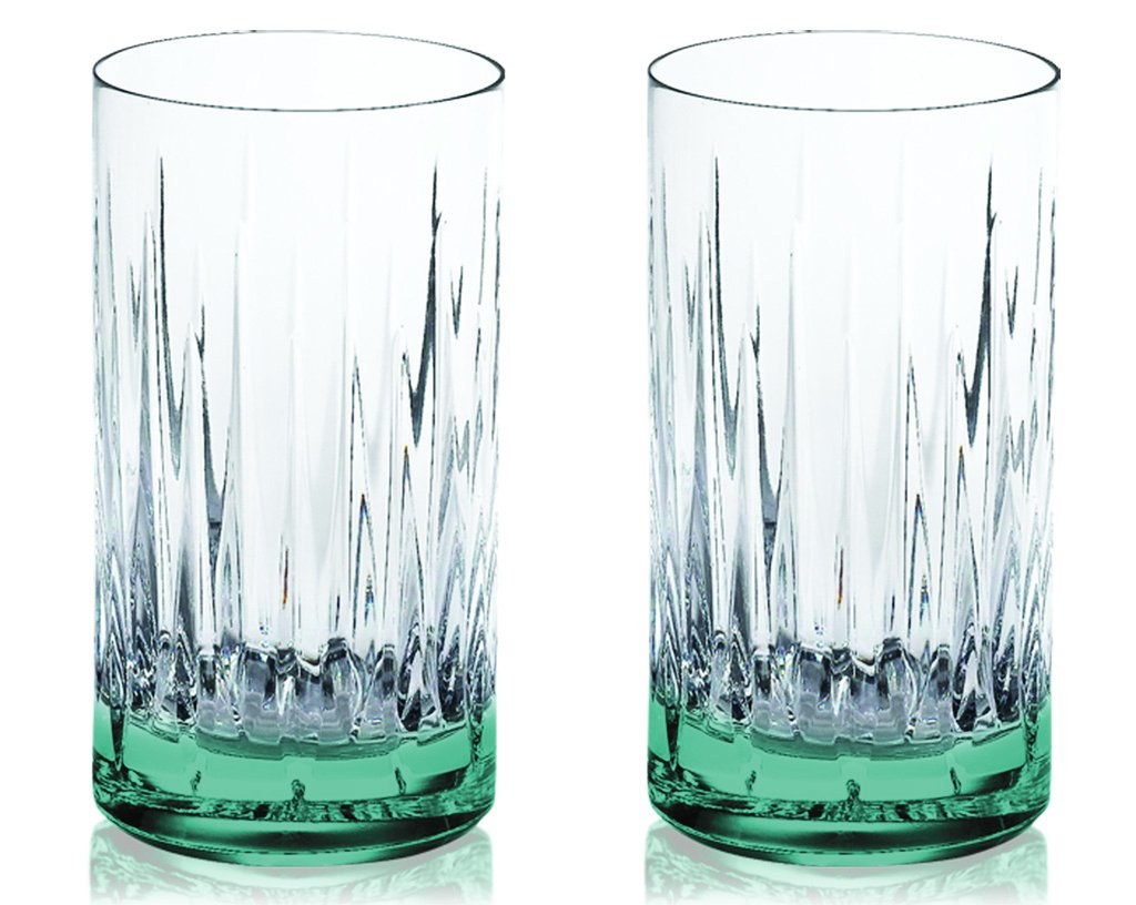 Aqua Reed & Barton Crystal Soho Highball Glasses 13 oz. with Colored Accent -set of 2- Additional Vibrant Colors Available by TableTop King