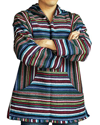 Ornatcha Pha Fai Baja Maxican Hoodie Pullover Poncho Sweatshirt Unisex Striped Woven Cotton 100% (Large, Blue (Wig The Old Hippie)