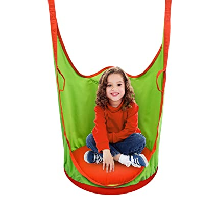 Sorbus Kids Pod Swing Chair Nook - Hanging Seat Hammock Nest for Indoor and Outdoor Use - Great for Children, All Accessories Included (Pod Orange)