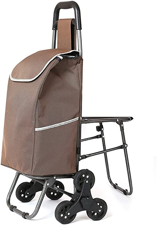 FKDECHE Shopping cart Trolley with 40L Capacity Brown 600D Oxford Cloth Bag,Equipped with a Load-Bearing 150kg seat,for Shopping Travel Household
