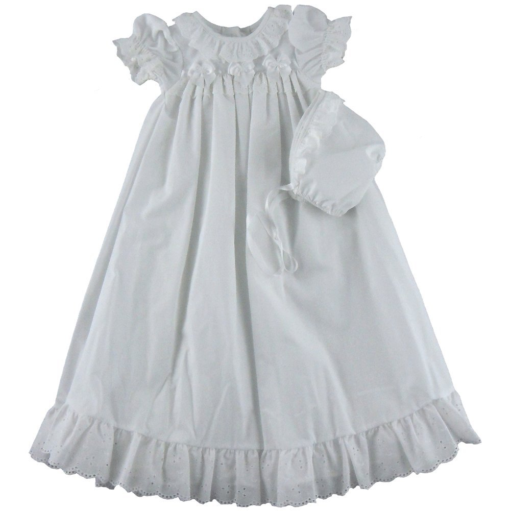 9ce86181c Amazon.com  I.C. Collections White Christening Gown   Bonnet  Clothing