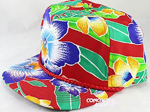 Floral Hawaiian Style 80S 90S Vintage Hat Snapback Deadstock Oldstock at  Amazon Men s Clothing store  e58ac07591a