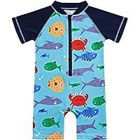 Toddler Kids Baby Boy Swimsuit Short Sleeve Bathing Suit Shark Pattern One Piece Swimwear Blue