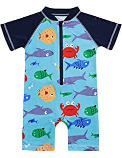 628cdd468 Amazon.com  HUANQIUE Baby Toddler Boy Swimsuit Long Sleeve One-Piece ...