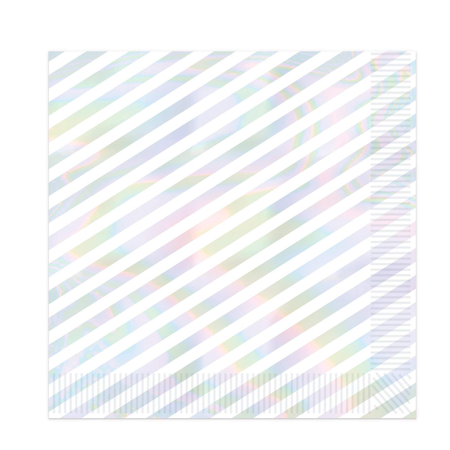 Beistle Iridescent Party Supplies, Iridescent Stripes Luncheon Paper Napkins, Pack of 192