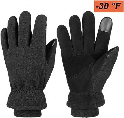 Men Women Winter Gloves Touch Screen Fingers Windproof Waterproof Leather.