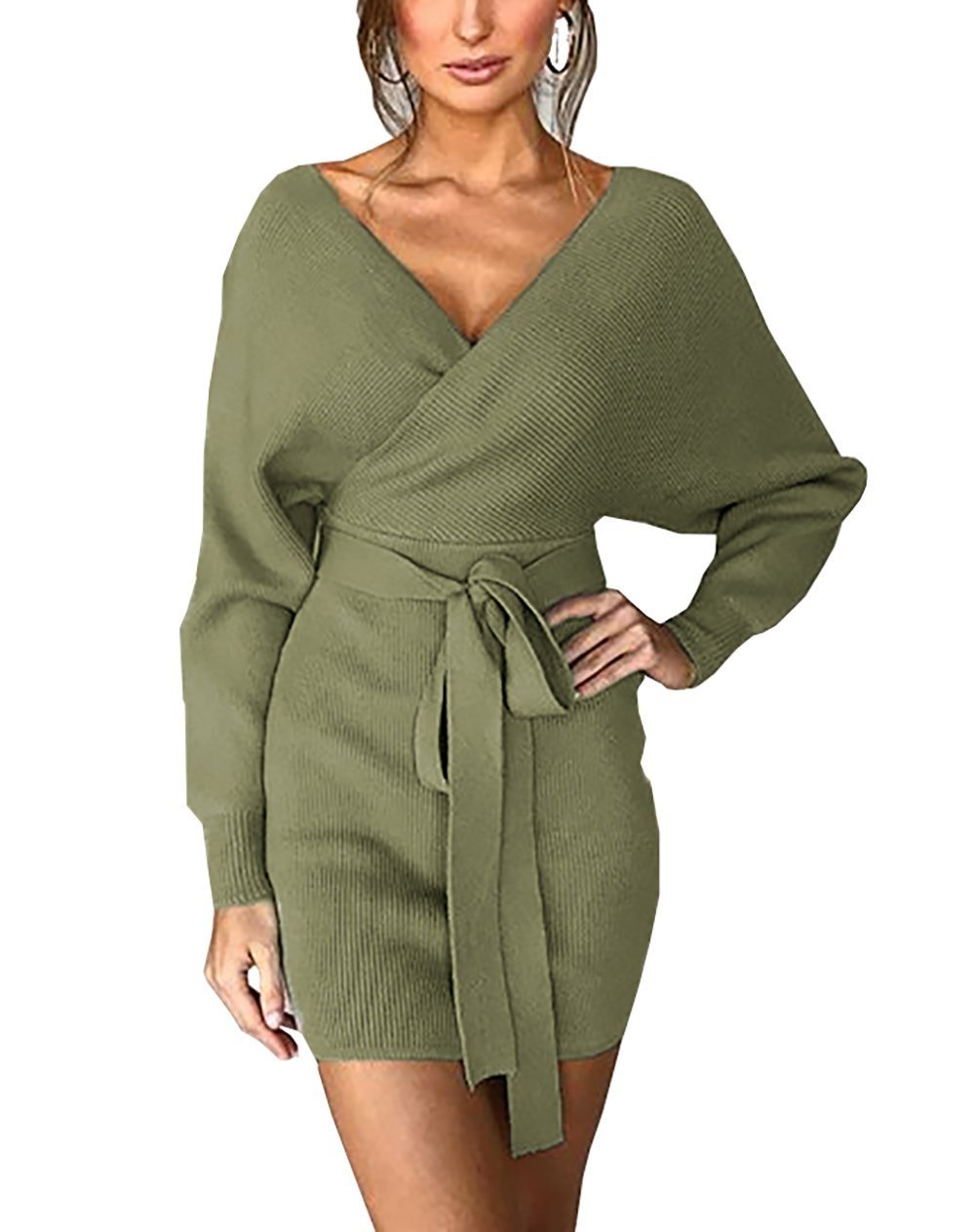 PRETTYGARDEN Women's Sexy Deep V Neck Batwing Long Sleeve Wrap Backless Elegant Bodycon Pencil Dresses with Belt (Green, Small)