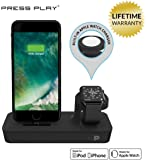ONE Dock Duo (APPLE CERTIFIED) Power Station Dock, Stand & Charger with Built-in ORIGINAL Charger for Apple Watch Smart Watch (Series 1,2,3, Nike+), iPhone X/10/8/8 Plus/7/7Plus/6s/6s, & iPod - Black