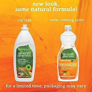Seventh Generation Natural Dish Liquid, Clemetine Zest & Lemongrass Scent, 25oz