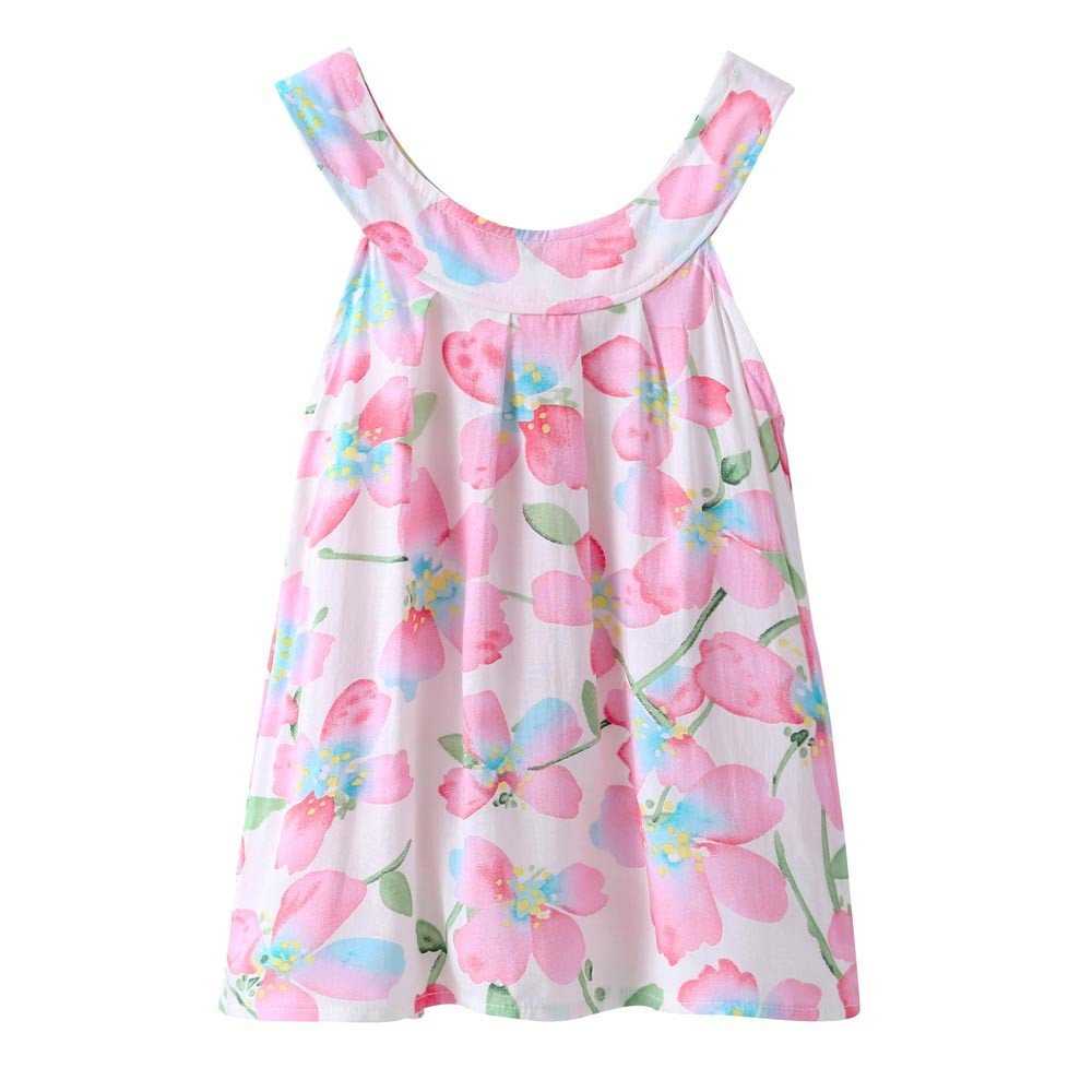 Dsood Girls Clothes Size 10 12,Summer Cute Baby Kids Girl Vest Toddler Princess Party Floral Print Shirt Tops,Girls' Fashion, 2019,Pink
