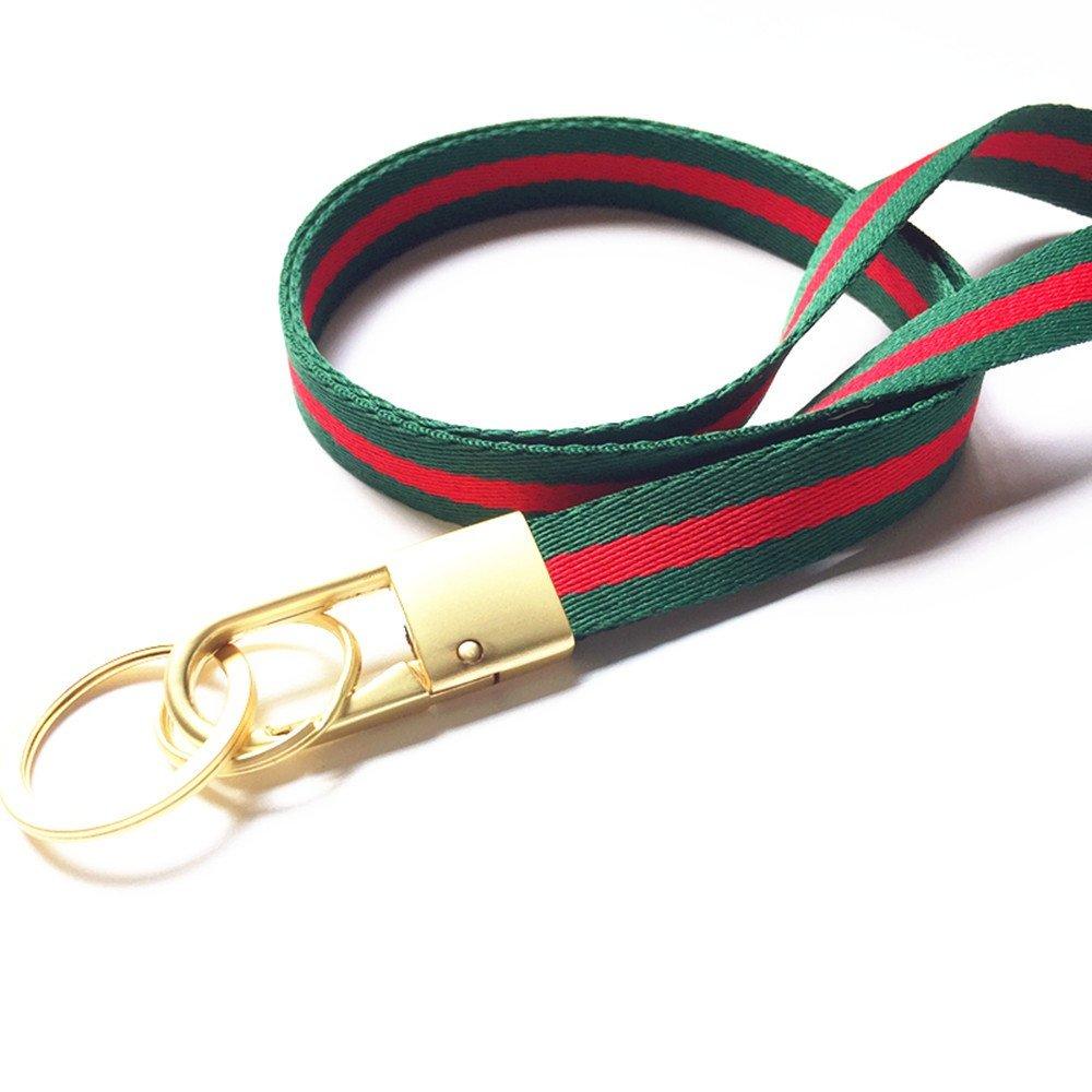 Llavero dorado de tela resistente para el cuello, correa de cordón, color verde, rojo
