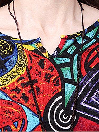 Femmes Élégantes Impression Motif Géométrique Divisée Robe En Lin Coton Rouge