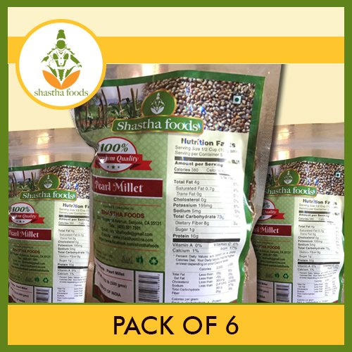 Shastha Pearl Millet (Pack of 6) Each Pkt 500 Gms by Shastha Foods