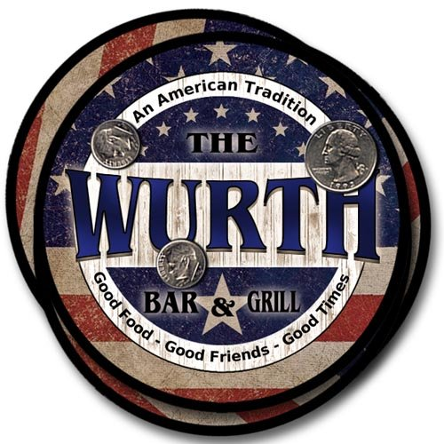 (Wurth Family Bar and Grill Rubber Drink Coaster Set - Patriotic Design)