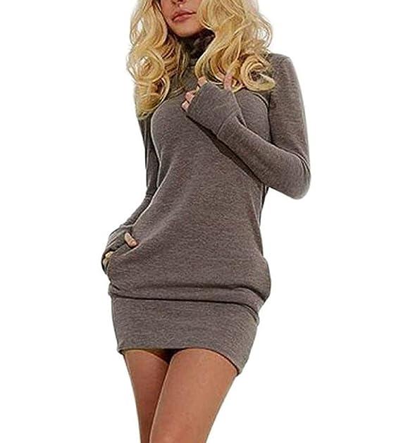 82d29cc0d421 Donna Vestiti De Giorno Corti Elegante Vestitini Fascianti Autunno Inverno  Vestito Chic Manica Lunga Collo Alto