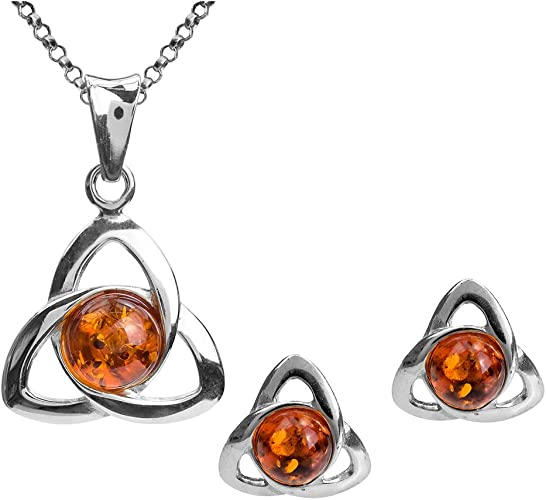 Celtic amber teardrop and celtic knot pendant with matching earrings