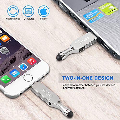 iPhone Flash Drive 128GB USB 3.0 Memory Stick with Inductive Touch Head,Lightning Connector for iPad iPod iOS PC, EATOP External Storage Memory Stick (Silver)