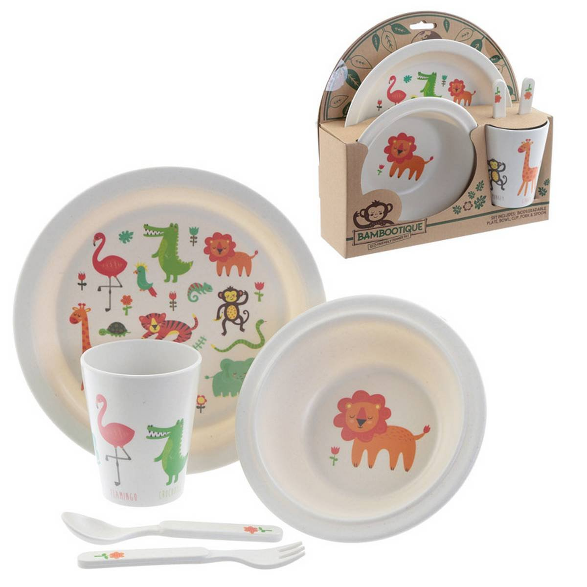 Bambootique Eco Friendly Zoo Design Picnic Set Product Code BAMB01