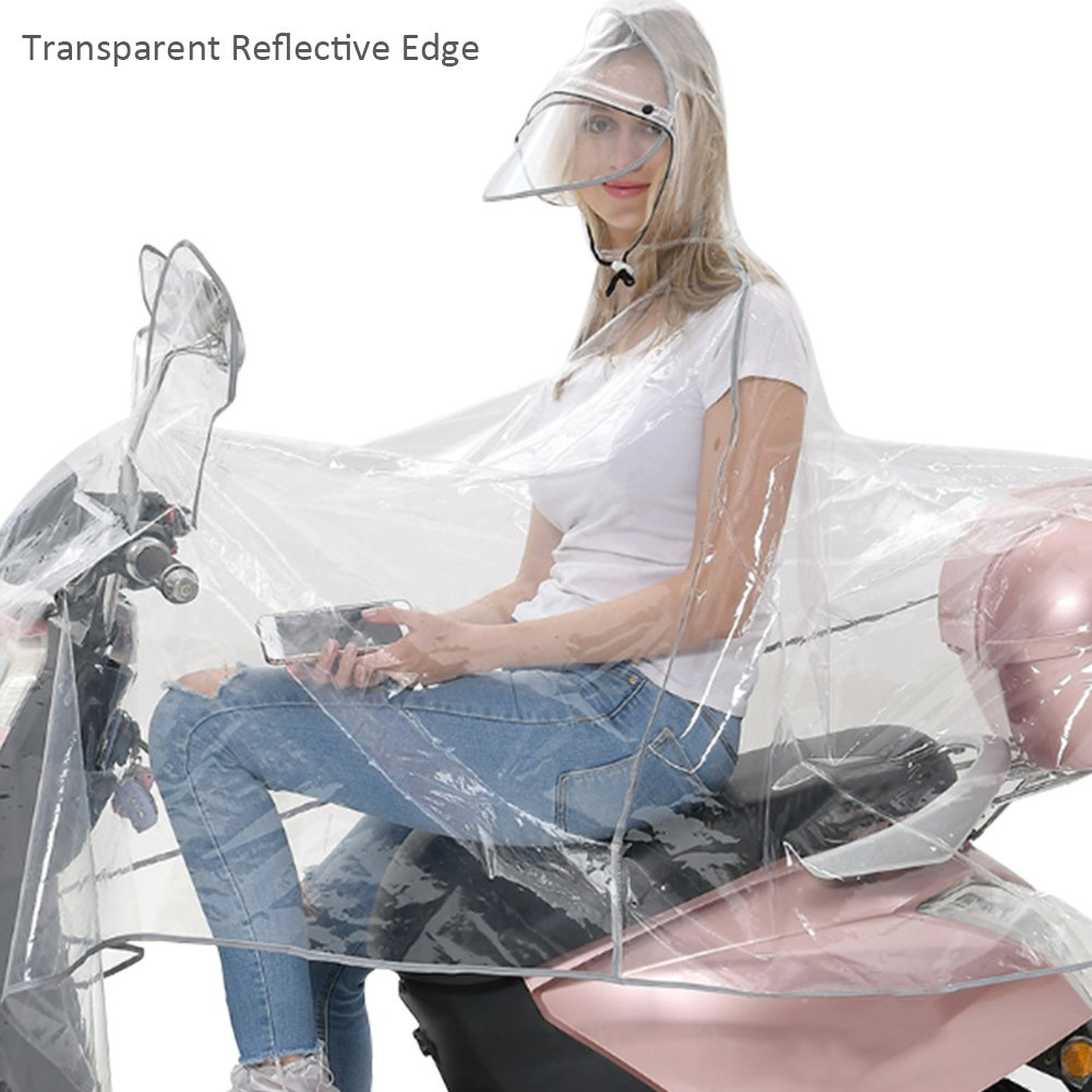 High Quality Transparent Double Hat-Brim Extra Large Windproof Rainproof Motorcycle Scooter Rain Hoodie Coat Women Men Big Raincoat Cover Cape Poncho Rainwear Full Protection with Reflector Strips blue--net