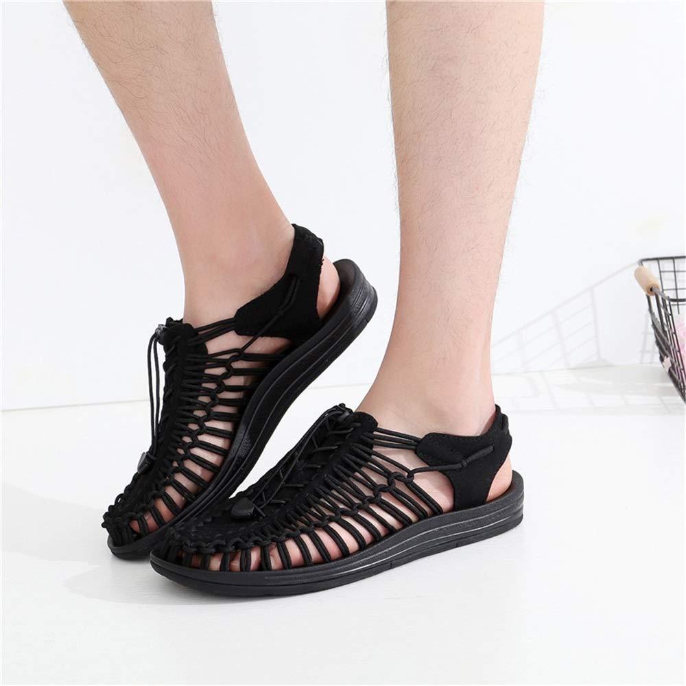 Qiusa Männer Outdoor Weiche Geflochtenen Seil Sandalen aushöhlen Weiche Outdoor Sohle Geschlossene Zehe Männer Schuhe (Farbe   Schwarz, Größe   EU 39) 033faa