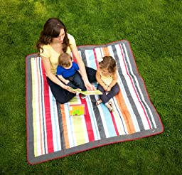 JJ Cole  Outdoor Blanket,Gray/Red, 5\' x 5\'