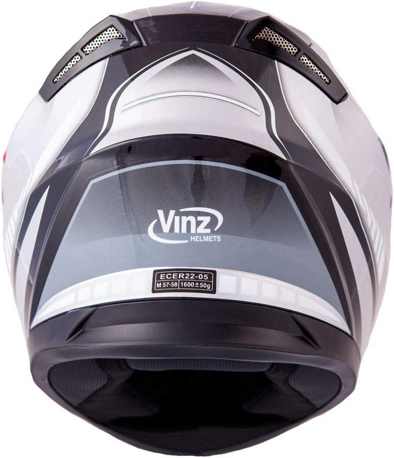S-XL Vinz Integralhelm//Rollerhelm Motorradhelm in Gr Integral Helm mit Sonnenblende XL , Matt Schwarz//Orange 61-62 cm