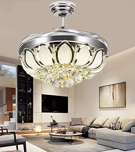 Sweety House 42″Crystal Ceiling Fan Chandelier Remote Control Invisible Telescopic Fan Blade