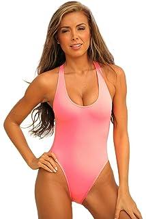 affcff3f766 UjENA Sexy Sheer Double Dip 1-PC Swimsuit Bikini Swimwear at Amazon ...