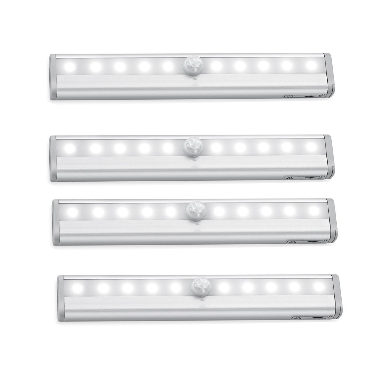 Rayhome 10-LED Motion Sensor Closet Light DIY Stick-on Anywhere Activated Light Bar with Magnetic Strip Battery-Powered Super Bright White Night Lights (10Led4Pack)