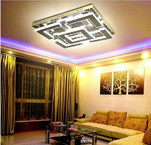 Gowe Large Square Design Modern Led Crystal Ceiling Light For Living Room Lustre De Circles Indoor Lighting For Ceiling Amazon Com