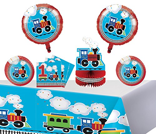 All Aboard Train Happy 1st Birthday Party Tableware Pack for 16 Guests