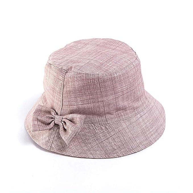 Gysad Algodón y Lino Sombrero de Pescador Arco Sombrero Mujer Dulce Gorras Mujer Size 58cm (