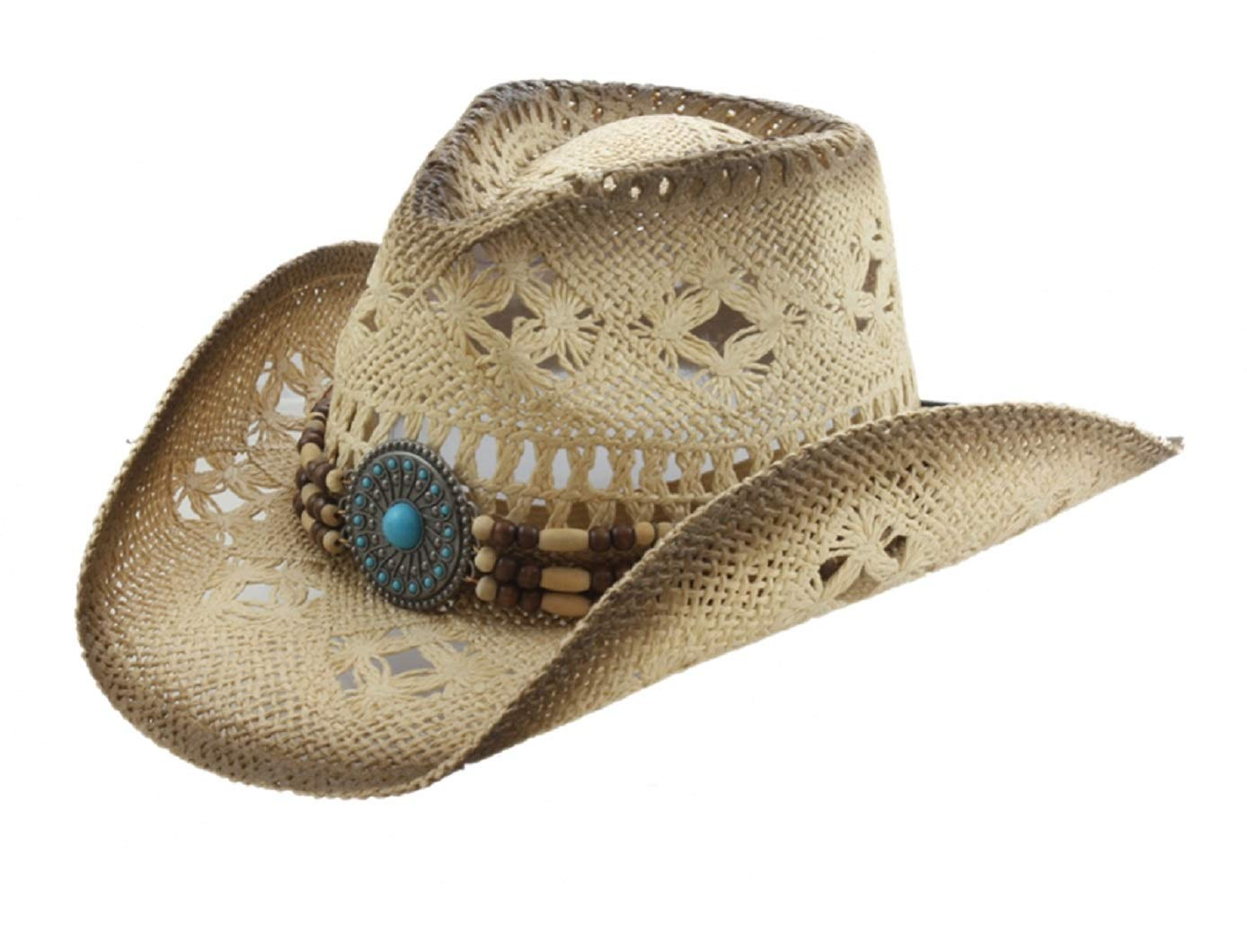 Western Toyo Straw Cowboy Hat, Shapeable w/ Stylish Beaded Concho Band