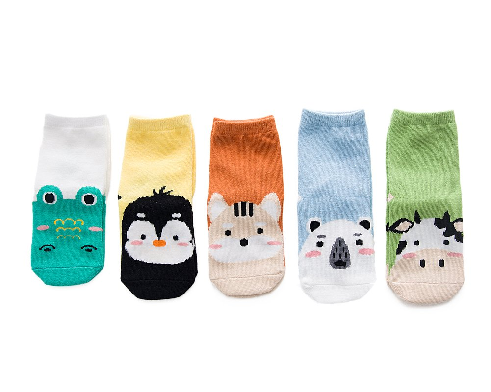 YEAPOOK Newborn Baby Socks Fuzzy Organic Cotton Cute Cartoon Toddler Boy Girl Socks Infant Kids Socks-5 Pairs M(3t-5t)