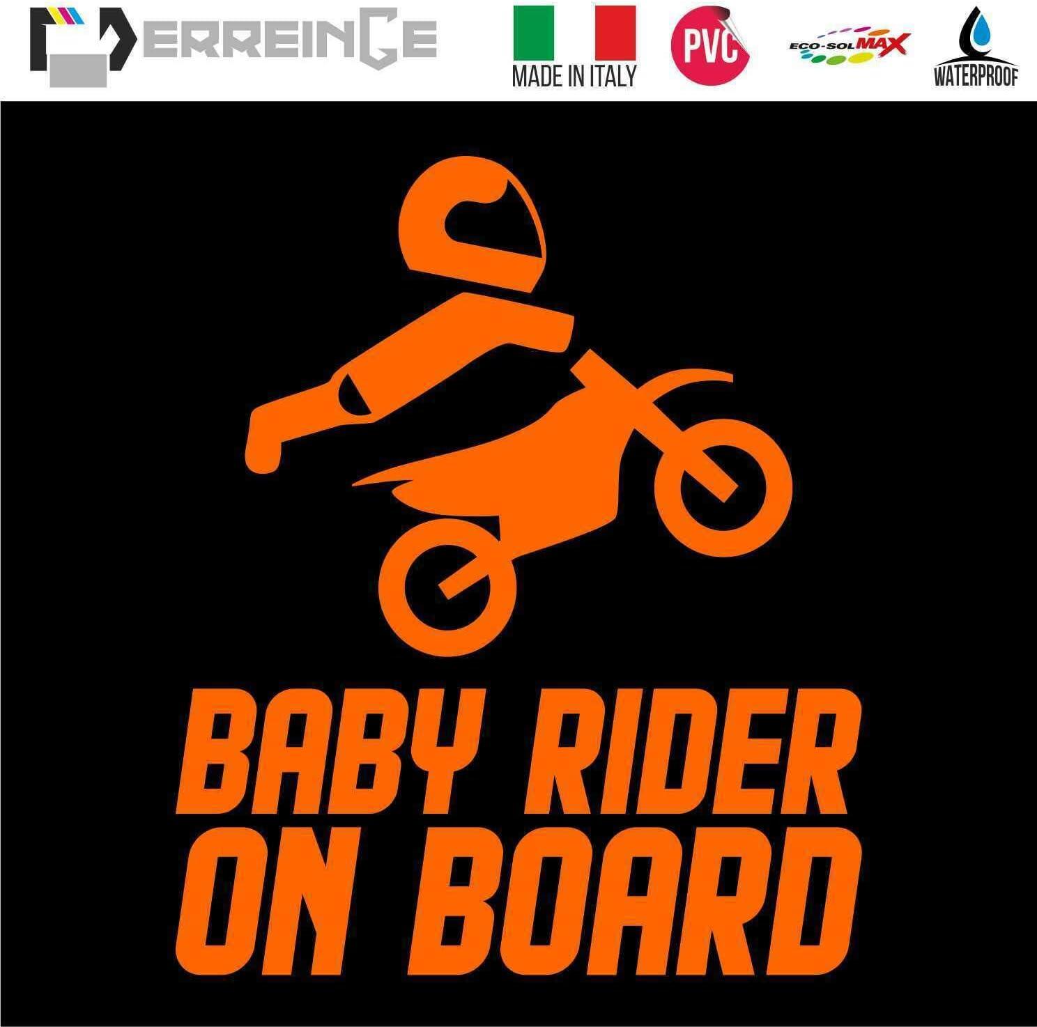 ERREINGE Sticker BABY RIDER ON BOARD ROSE ARGENT Autocollant pr/éd/écoup/é in PVC per Moto Motocross Scooter Bike Casco Vespa cm 15