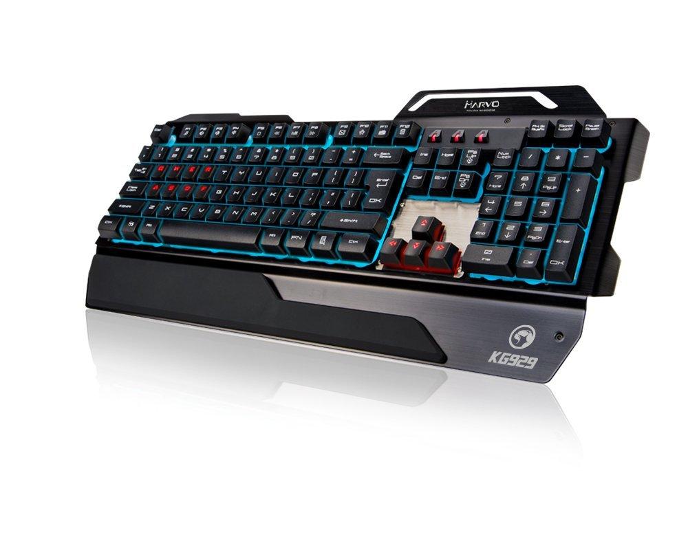Marvo - KG929 Teclado Gaming internacional semi-mecánico con cable retroiluminado con luz RGB: Amazon.es: Videojuegos