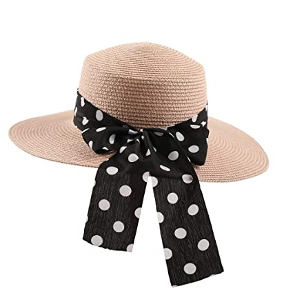 cb83d4858c2df1 Amazon.com: Egmy Women Sun Hat,Ladies Fedora Travel Hats Crushable Straw  Panama Style Wide Brim Beach Cap with Ribbon (Pink): Garden & Outdoor