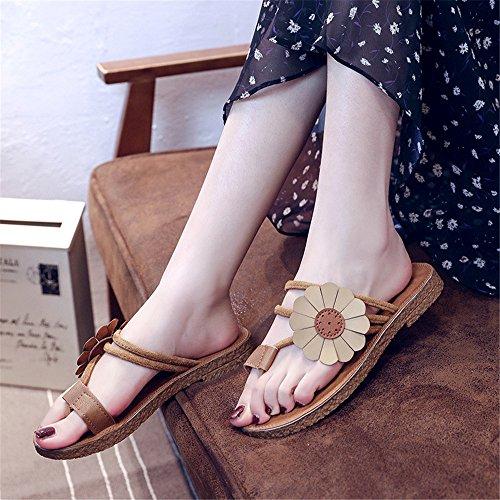 Bascule Taille Couleur Jaune à Chaussures Plage antidérapantes Simples à Plat 38 de Chaussures Sauvage EU Jaune Fond Yiwuhu tAgw4qn
