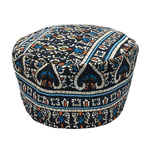 Vipada Handmade African Dashiki Hat Kente Pattern Kufi Kofi Hat Cap 3 (White Light Blue Black)