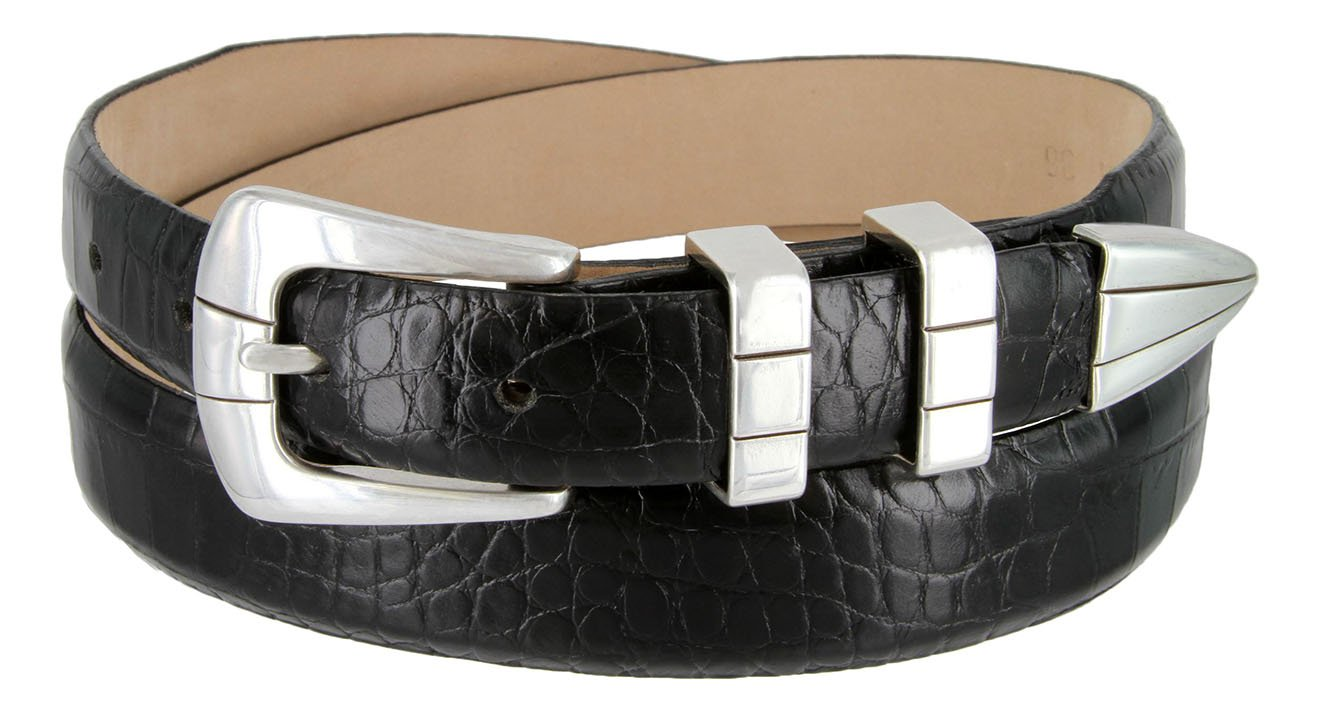Vince Italian Calfskin Leather Designer Golf Dress Belt for Men (46, Alligator Black)