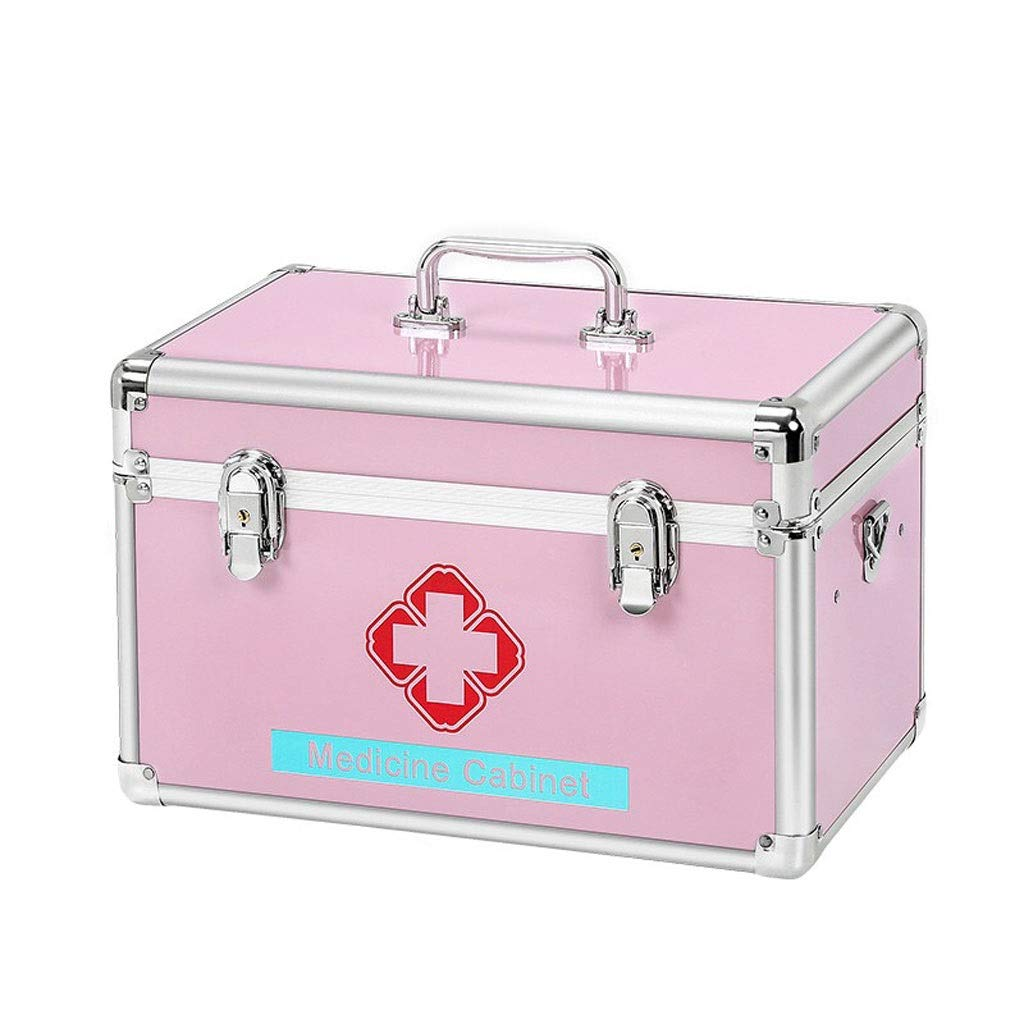 Medicine box Home Multi-Layer Extra Large, Aluminum Alloy, Pink, Silver, Medicine Storage Box HUXIUPING (Color : Pink, Size : 12 inches)